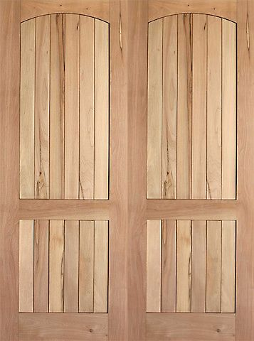 WDMA 48x80 Door (4ft by 6ft8in) Interior Swing Tropical Hardwood Rustic-1 2 Panel Arch Top Panel V-Grooved Double Door 1