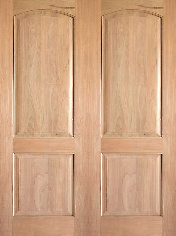 WDMA 48x80 Door (4ft by 6ft8in) Interior Barn Tropical Hardwood Rustic-2 2 Panel Arch Top Panel Double Door 1