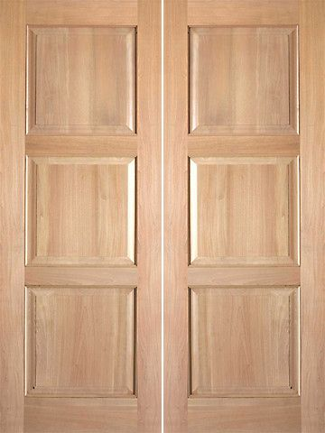 WDMA 48x80 Door (4ft by 6ft8in) Interior Swing Tropical Hardwood Rustic-4 3 Panel Double Door 1