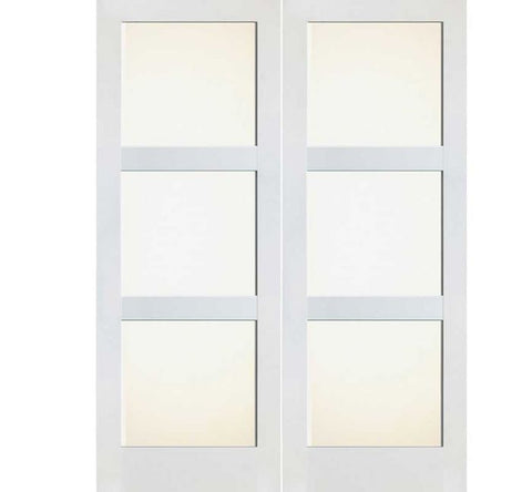 WDMA 48x80 Door (4ft by 6ft8in) Interior Swing Pine 80in Primed 3 Lite Frosted Shaker Double Door | 4603 1