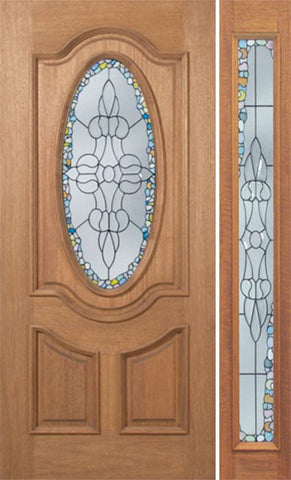 WDMA 48x80 Door (4ft by 6ft8in) Exterior Mahogany Carmel Single Door/1side w/ Tiffany Glass 1