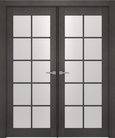 WDMA 48x80 Door (4ft by 6ft8in) Interior Swing Prefinished Aditi 10 Lite Legna Nera Modern Double Door 1