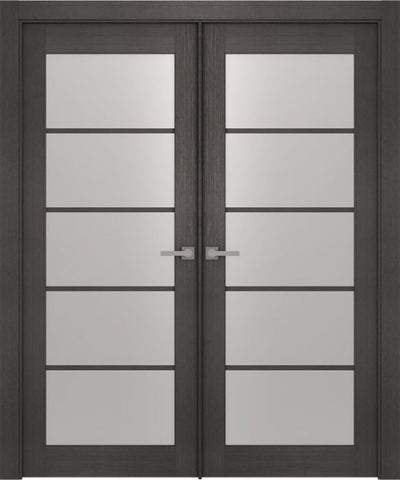 WDMA 48x80 Door (4ft by 6ft8in) Interior Barn Prefinished Aditi 5 Lite Legna Nera Modern Double Door 1