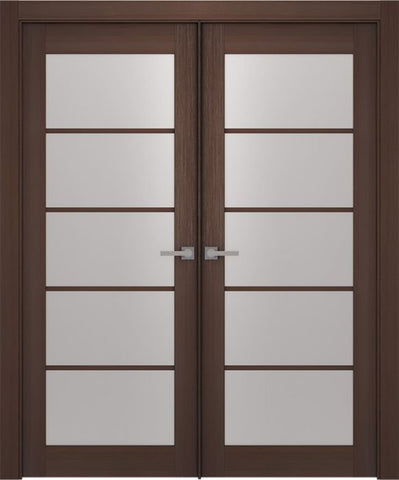 WDMA 48x80 Door (4ft by 6ft8in) Interior Barn Wenge Prefinished Maya 5 Lite Modern Double Door 1