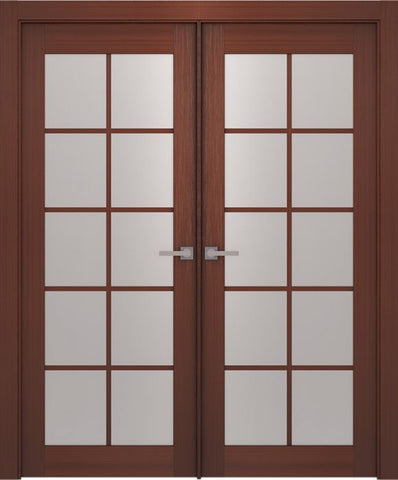 WDMA 48x80 Door (4ft by 6ft8in) Interior Barn Wenge Prefinished 10 Lite French Modern Double Door 1