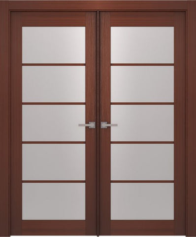 WDMA 48x80 Door (4ft by 6ft8in) Interior Swing Wenge Prefinished 5 Lite French Modern Double Door 1