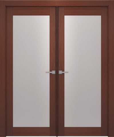 WDMA 48x80 Door (4ft by 6ft8in) Interior Barn Wenge Prefinished 1 Lite French Modern Double Door 1