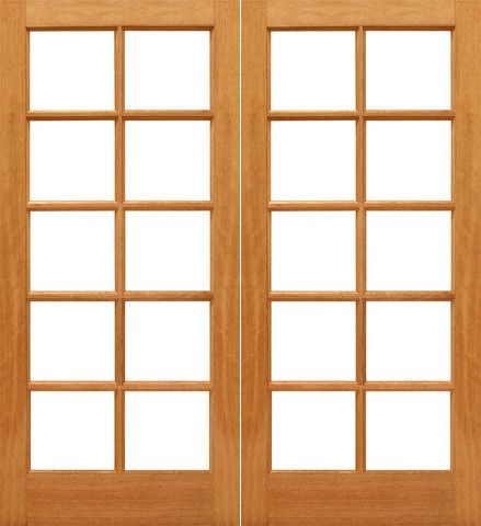 WDMA 48x80 Door (4ft by 6ft8in) Interior Barn Mahogany 10-lite Brazilian IG Glass Double Door 1