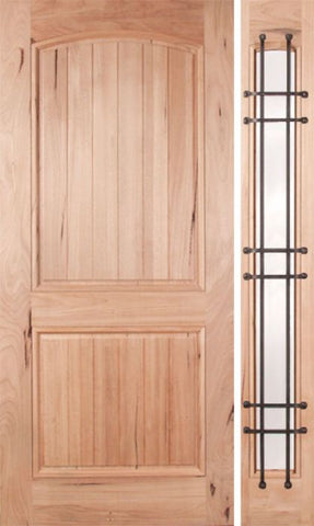 WDMA 48x80 Door (4ft by 6ft8in) Exterior Walnut Rustica Single Door/1side Clear Glass and Cage 1