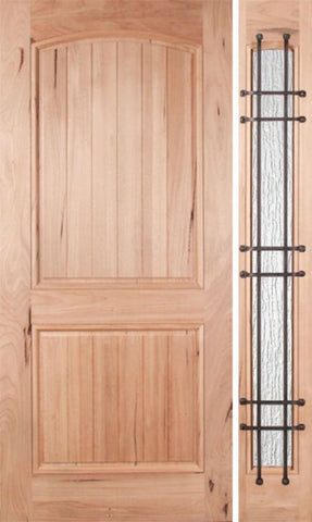 WDMA 48x80 Door (4ft by 6ft8in) Exterior Walnut Rustica Single Door/1side Rain Glass and Cage 1