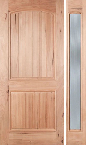 WDMA 48x80 Door (4ft by 6ft8in) Exterior Walnut Rustica Single Door/1side Reed Glass 1