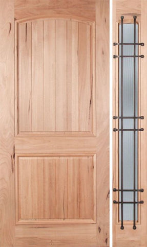 WDMA 48x80 Door (4ft by 6ft8in) Exterior Walnut Rustica Single Door/1side Reed Glass and Cage 1