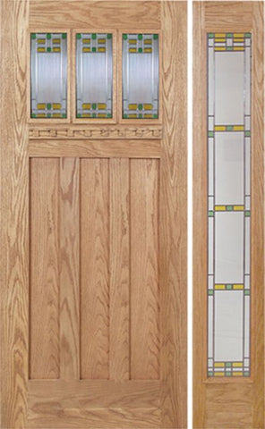 WDMA 48x80 Door (4ft by 6ft8in) Exterior Oak Barnsdale Single Door/1 Full-lite side w/ GO Glass 1