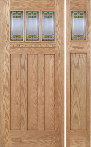 WDMA 48x80 Door (4ft by 6ft8in) Exterior Oak Barnsdale Single Door/1side w/ GO Glass 1