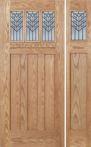 WDMA 48x80 Door (4ft by 6ft8in) Exterior Oak Barnsdale Single Door/1side w/ E Glass 1