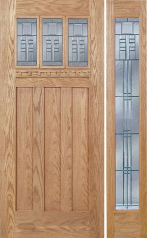 WDMA 48x80 Door (4ft by 6ft8in) Exterior Oak Barnsdale Single Door/1 Full-lite side w/ C Glass 1