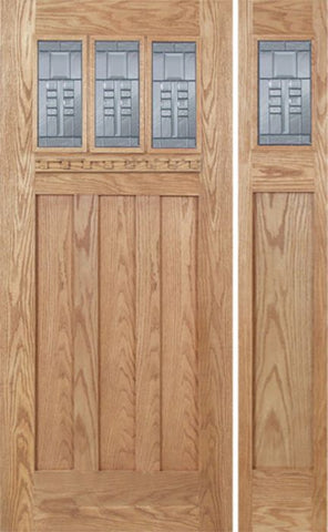 WDMA 48x80 Door (4ft by 6ft8in) Exterior Oak Barnsdale Single Door/1side w/ C Glass 1