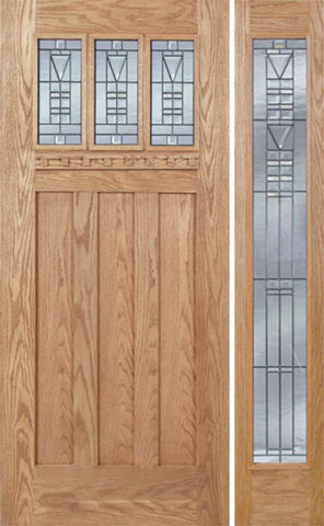 WDMA 48x80 Door (4ft by 6ft8in) Exterior Oak Barnsdale Single Door/1 Full-lite side w/ B Glass 1
