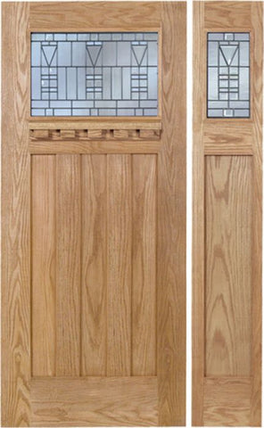 WDMA 48x80 Door (4ft by 6ft8in) Exterior Oak Biltmore Single Door/1side w/ B Glass 1