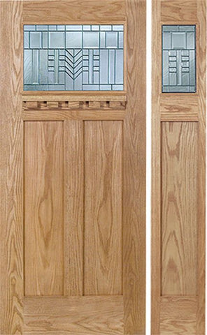 WDMA 48x80 Door (4ft by 6ft8in) Exterior Oak Pearce Single Door/1side w/ C Glass 1