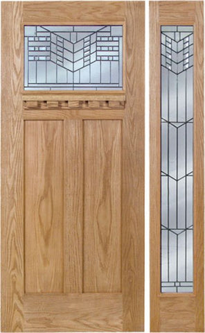 WDMA 48x80 Door (4ft by 6ft8in) Exterior Oak Pearce Single Door/1 Full-lite side w/ E Glass 1