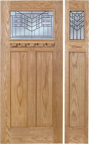 WDMA 48x80 Door (4ft by 6ft8in) Exterior Oak Pearce Single Door/1side w/ E Glass 1