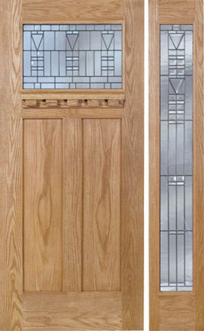 WDMA 48x80 Door (4ft by 6ft8in) Exterior Oak Pearce Single Door/1 Full-lite side w/ B Glass 1