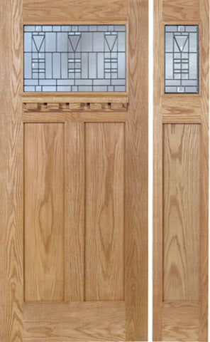 WDMA 48x80 Door (4ft by 6ft8in) Exterior Oak Pearce Single Door/1side w/ B Glass 1