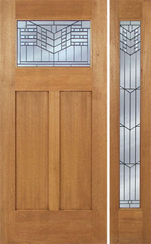 WDMA 48x80 Door (4ft by 6ft8in) Exterior Mahogany Pearce Single Door/1 Full-lite side w/ E Glass 1