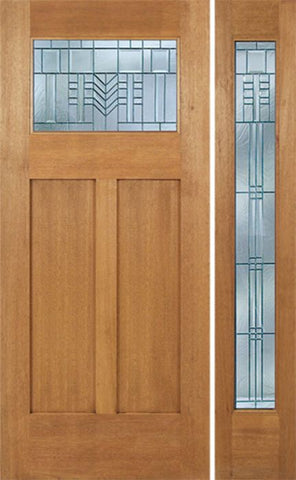 WDMA 48x80 Door (4ft by 6ft8in) Exterior Mahogany Pearce Single Door/1 Full-lite side w/ C Glass 1