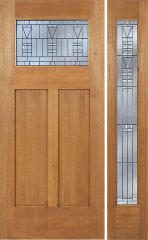 WDMA 48x80 Door (4ft by 6ft8in) Exterior Mahogany Pearce Single Door/1 Full-lite side w/ B Glass 1