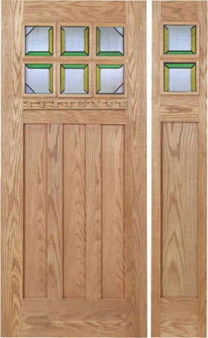 WDMA 48x80 Door (4ft by 6ft8in) Exterior Oak Randall Single Door/1side w/ MO Glass 1