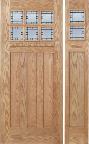 WDMA 48x80 Door (4ft by 6ft8in) Exterior Oak Randall Single Door/1side w/ N Glass 1