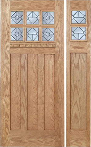 WDMA 48x80 Door (4ft by 6ft8in) Exterior Oak Randall Single Door/1side w/ H Glass 1