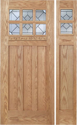 WDMA 48x80 Door (4ft by 6ft8in) Exterior Oak Randall Single Door/1side w/ Q Glass 1