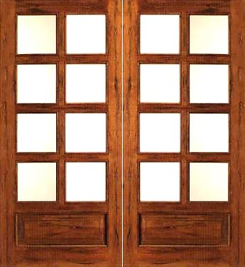 WDMA 48x80 Door (4ft by 6ft8in) French Tropical Hardwood Rustic-8-lite-P/B Solid Wood 1 Panel IG Glass Double Door 1