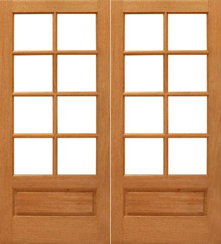 WDMA 48x80 Door (4ft by 6ft8in) Interior Barn Mahogany 8-lite Brazilian 1 Panel IG Glass Double Door 1