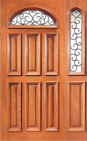 WDMA 48x80 Door (4ft by 6ft8in) Exterior Mahogany Camber Insulated Lite External One Sidelight Door 1