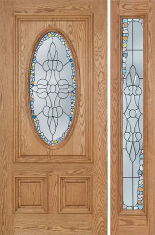 WDMA 48x80 Door (4ft by 6ft8in) Exterior Oak Watson Single Door/1side w/ Tiffany Glass 1