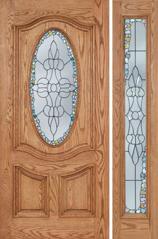 WDMA 48x80 Door (4ft by 6ft8in) Exterior Oak Dally Single Door/1side w/ Tiffany Glass - 6ft8in Tall 1