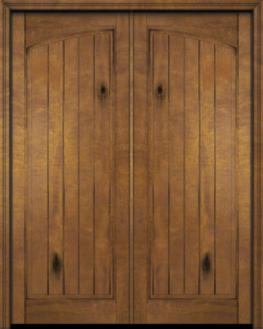 WDMA 48x80 Door (4ft by 6ft8in) Exterior Swing Mahogany Rustic Arch Panel V-Grooved Plank or Interior Double Door 1