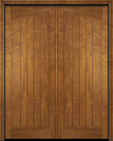 WDMA 48x80 Door (4ft by 6ft8in) Exterior Barn Mahogany Arch Panel V-Grooved Plank Rustic-Old World or Interior Double Door 1