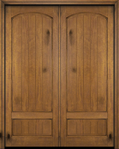 WDMA 48x80 Door (4ft by 6ft8in) Exterior Barn Mahogany 2 Panel Arch Top V-Grooved Plank or Interior Double Door 1