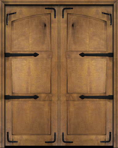 WDMA 48x80 Door (4ft by 6ft8in) Interior Barn Mahogany Arch Top 2 Panel Rustic-Old World Home Style Exterior or Double Door with Corner Straps / Straps 2