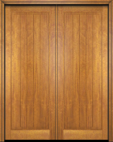 WDMA 48x84 Door (4ft by 7ft) Exterior Barn Mahogany Rustic-Old World Home Style 1 Panel V-Grooved Plank or Interior Double Door 1