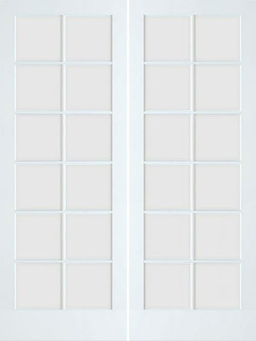 WDMA 48x96 Door (4ft by 8ft) Patio Swing Smooth 96in Primed 12 Lite French Double Door Clear Tempered Glass 1