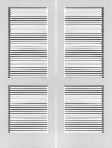 WDMA 48x96 Door (4ft by 8ft) Interior Swing Pine 96in Primed Louver Over Louver Double Door | 730 1