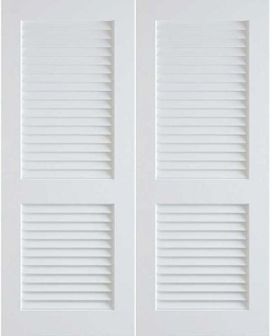 WDMA 48x96 Door (4ft by 8ft) Interior Swing Pine 96in Primed Plantation Louvers Double Door | 730 1