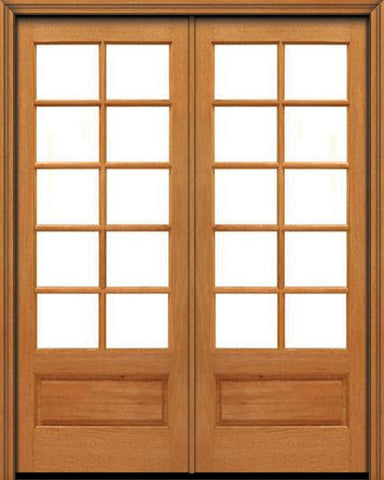 WDMA 48x96 Door (4ft by 8ft) French Mahogany 96in 10 lite 1 Panel Double Door IG Glass 1