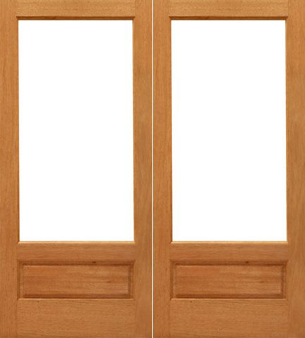 WDMA 48x96 Door (4ft by 8ft) French Mahogany 1-lite-P/B Brazilian Wood 1 Panel IG Glass Double Door 1